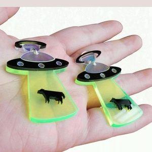Neon Acrylic Flying Saucer UFO Earrings